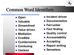 common word identifiers