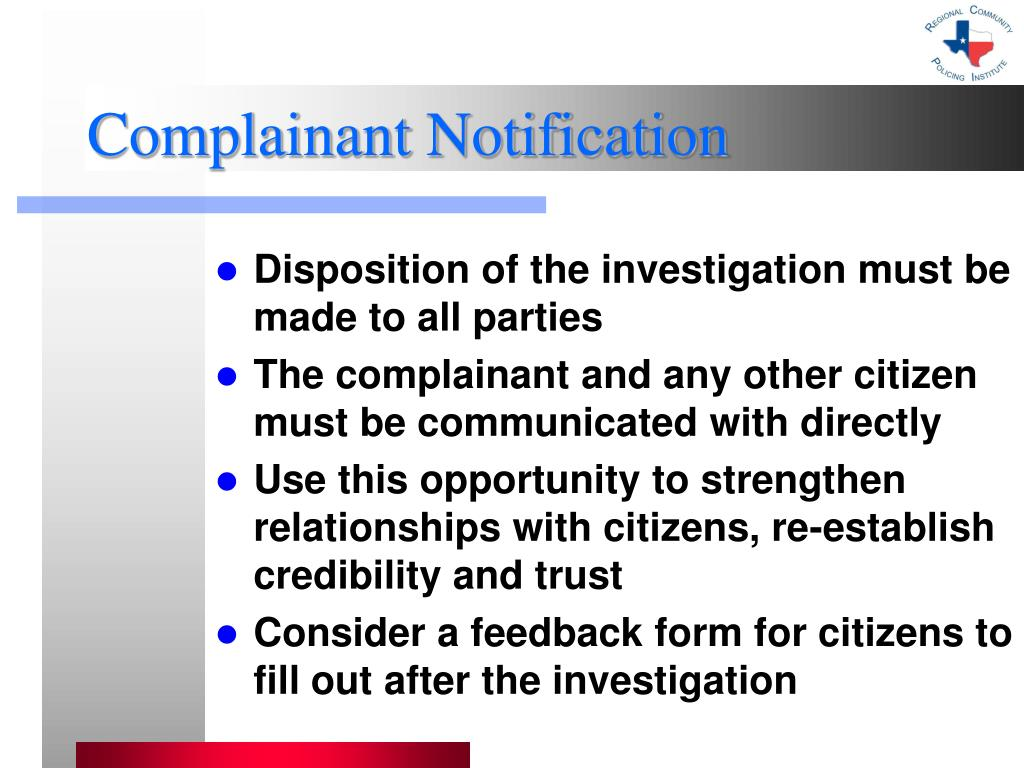 Complainant Notification