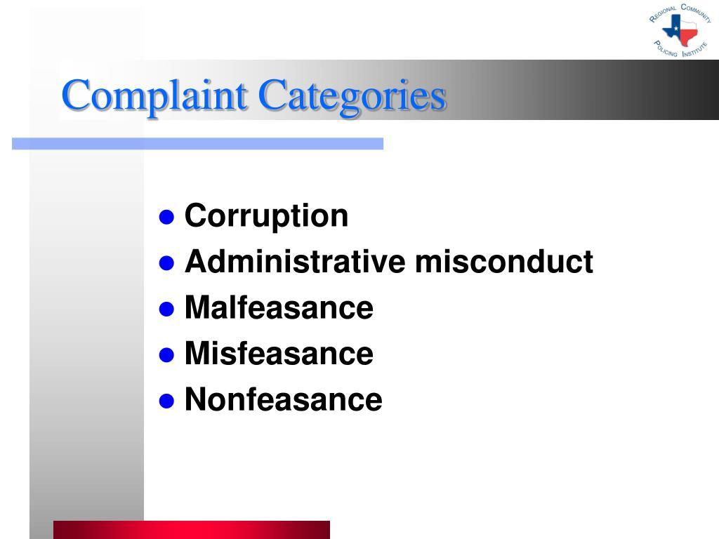 Complaint Categories