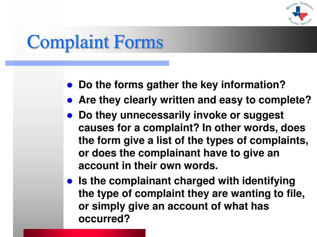 Complaint Forms