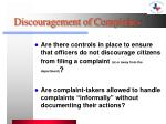 discouragement of complaints