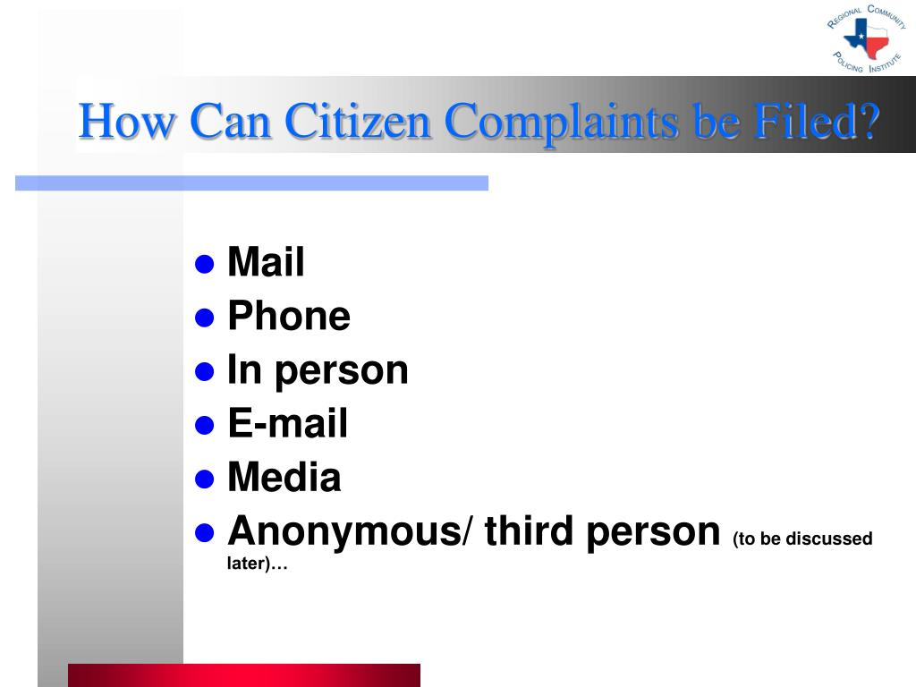 How Can Citizen Complaints be Filed?