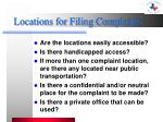 locations for filing complaints