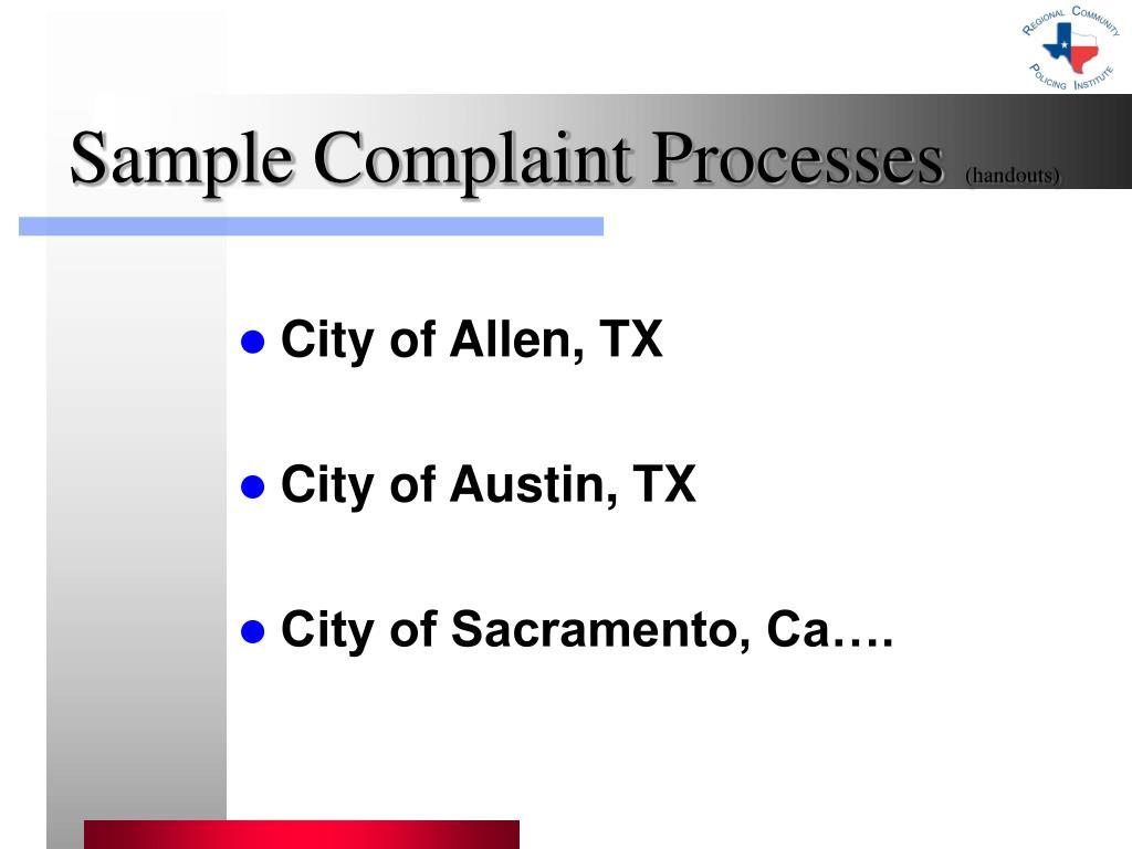 Sample Complaint Processes