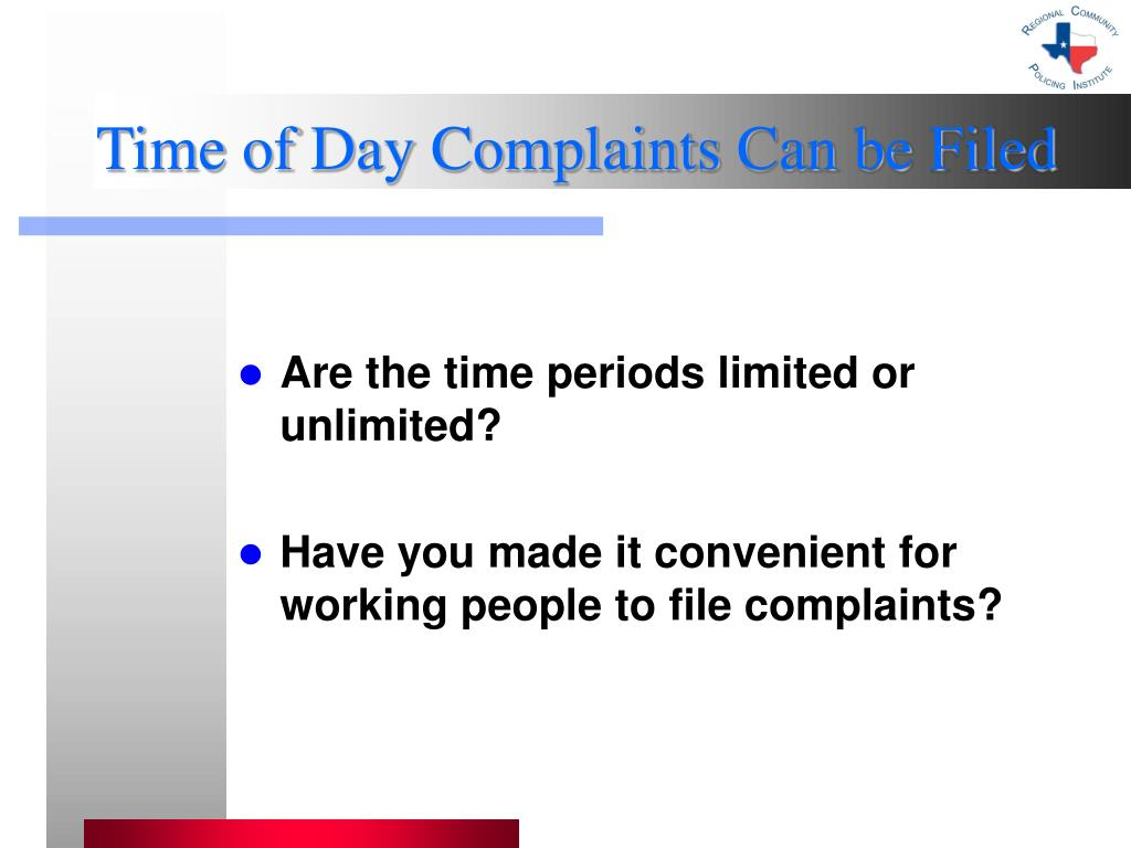 Time of Day Complaints Can be Filed