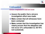 unfounded action complained of did not occur