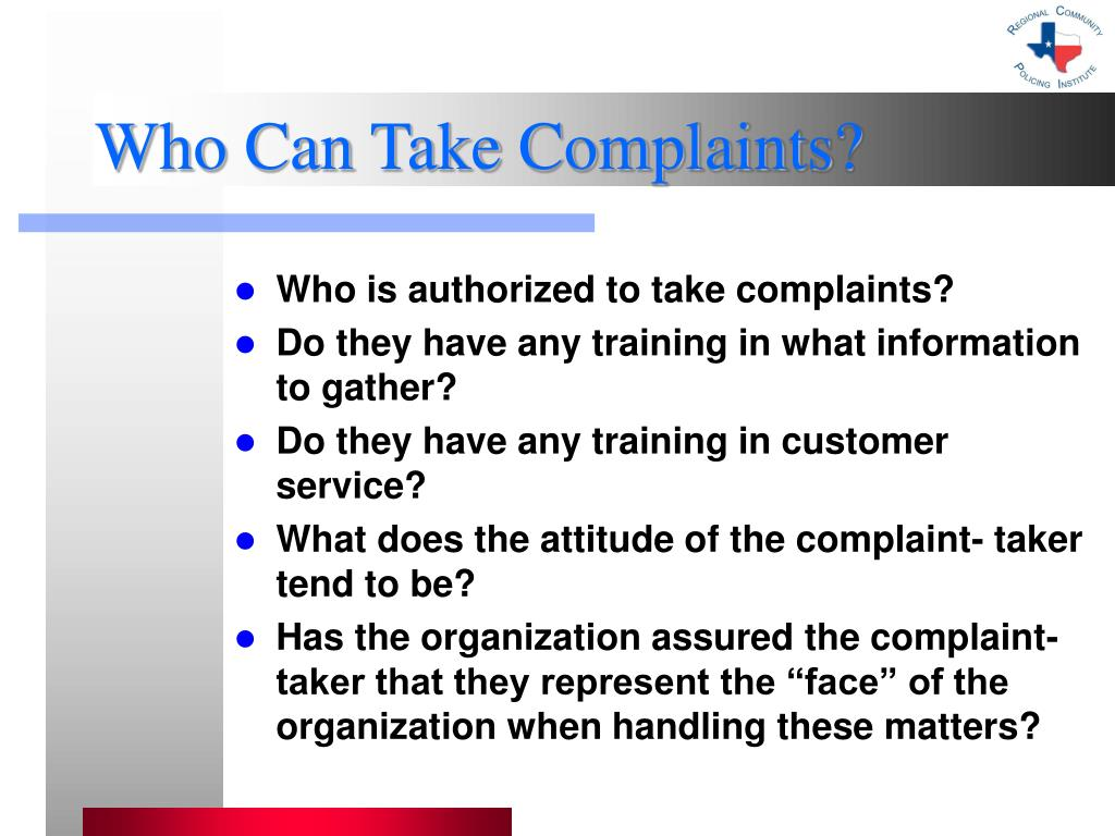 Who Can Take Complaints?
