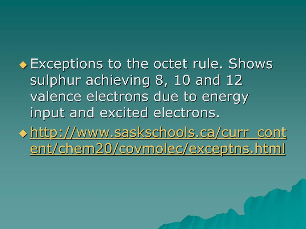 Exceptions to the octet rule. Shows sulphur achieving 8, 10 and 12 valence electrons due to energy input and excited electrons.