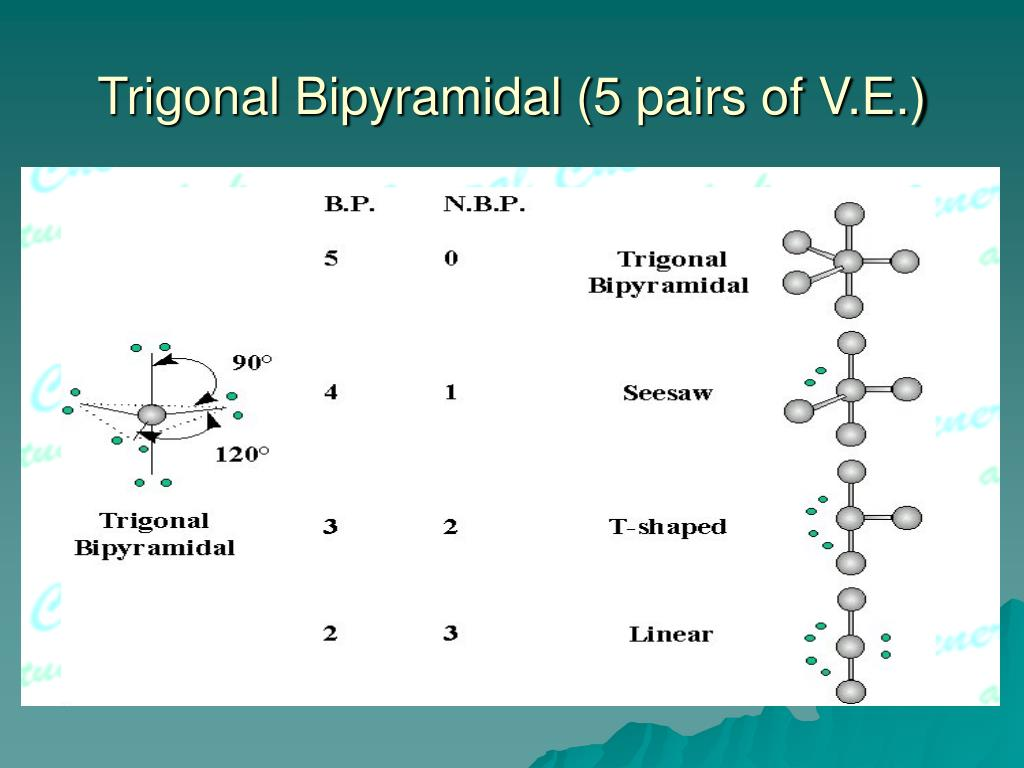 Trigonal Bipyramidal (5 pairs of V.E.)