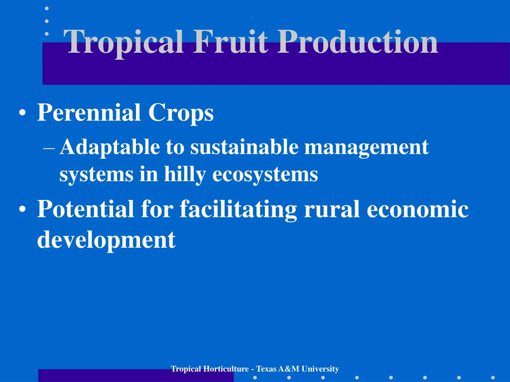 Tropical Fruit Production