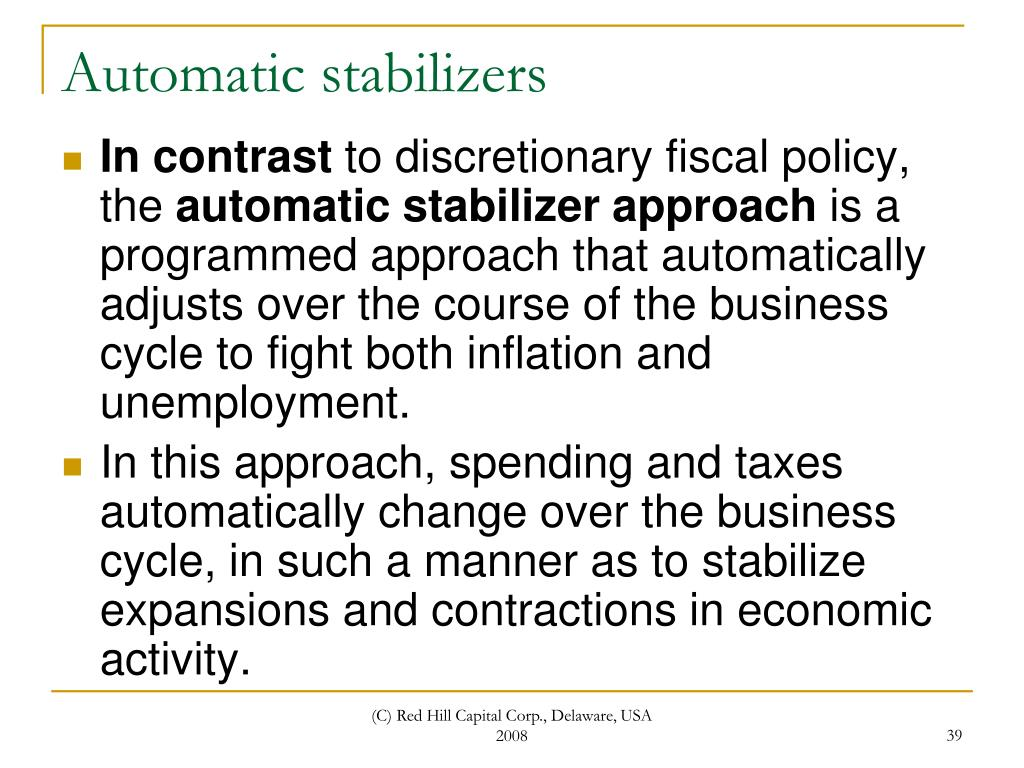 monetary policy as an output stabilizer Discuss with the aid of diagrams the short run effect on output explain how unemployment benefit from government acts as an automatic stabilizer (6 ) c suppose that the fed of us unexpectedly decreases the money money and monetary policy in creation of money 8.