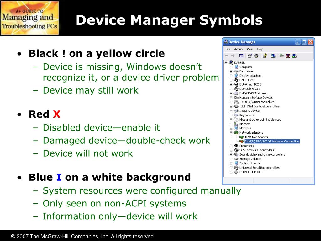 Device Manager Symbols