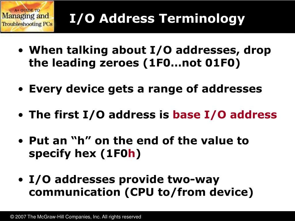 I/O Address Terminology