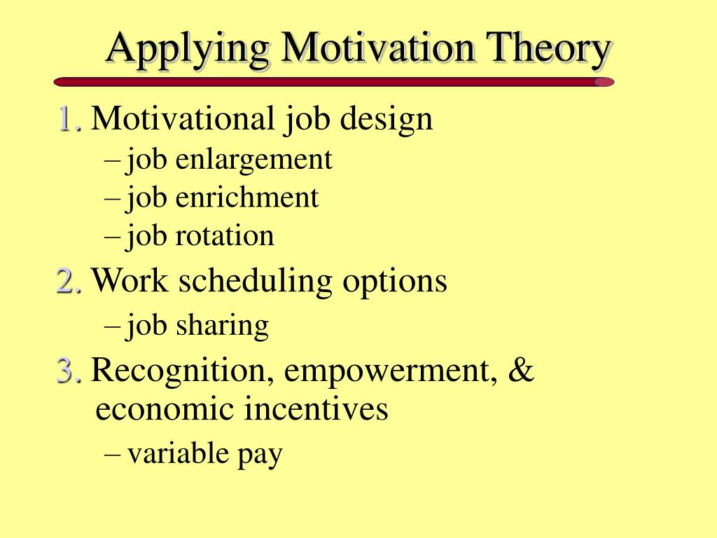 motivating employees and job enrichment One way of motivating employees to perform better and increase their commitment to the organization is through redesigning and enriching their job.