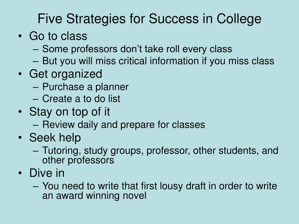 Five Strategies for Success in College