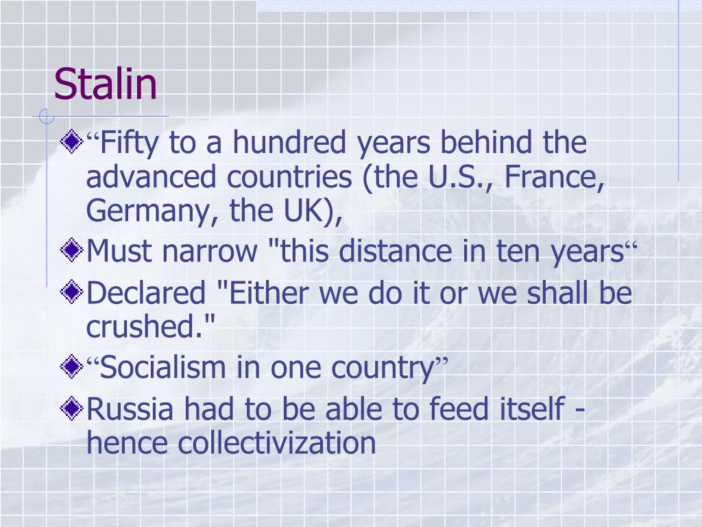 stalin five year plan Joseph stalin, in 1928, launched the first five-year plan it was designed to  industrialize the ussr in the shortest possible time and, in the process, to  expedite.