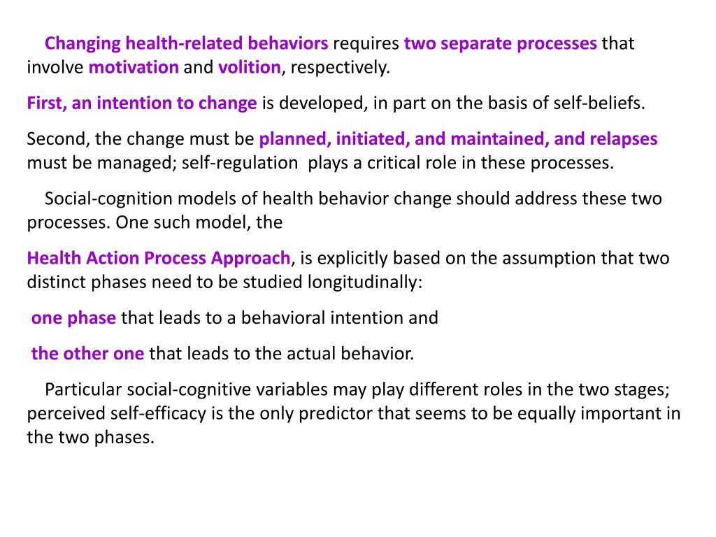Changing health-related behaviors