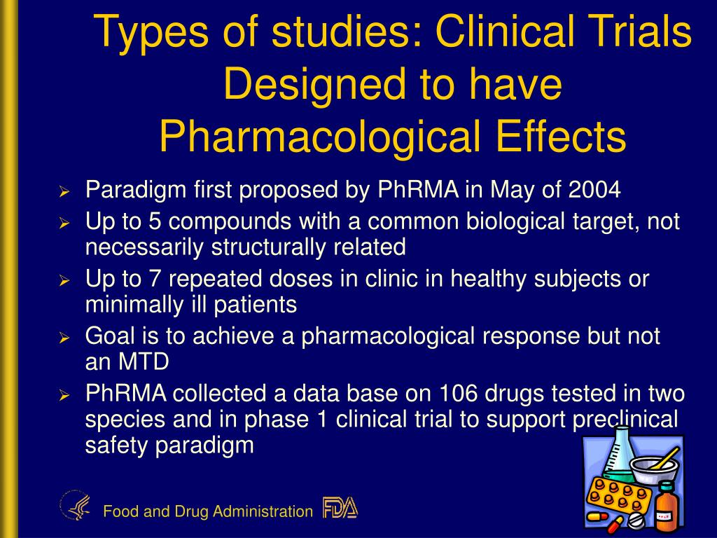 Types of studies: Clinical Trials Designed to have Pharmacological Effects