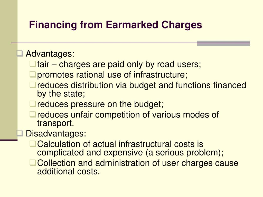 Financing from Earmarked Charges