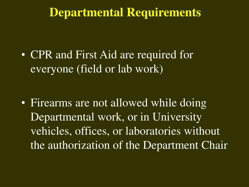 Departmental Requirements