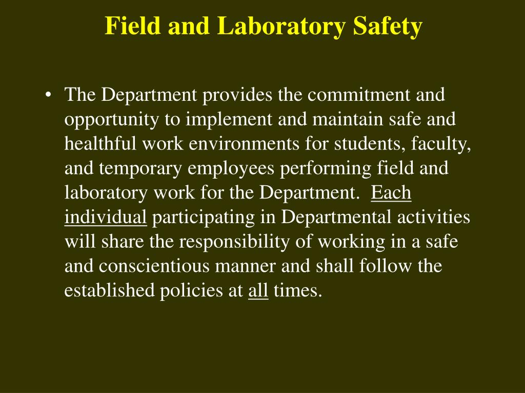 Field and Laboratory Safety