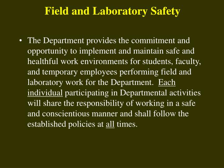 Field and laboratory safety l.jpg