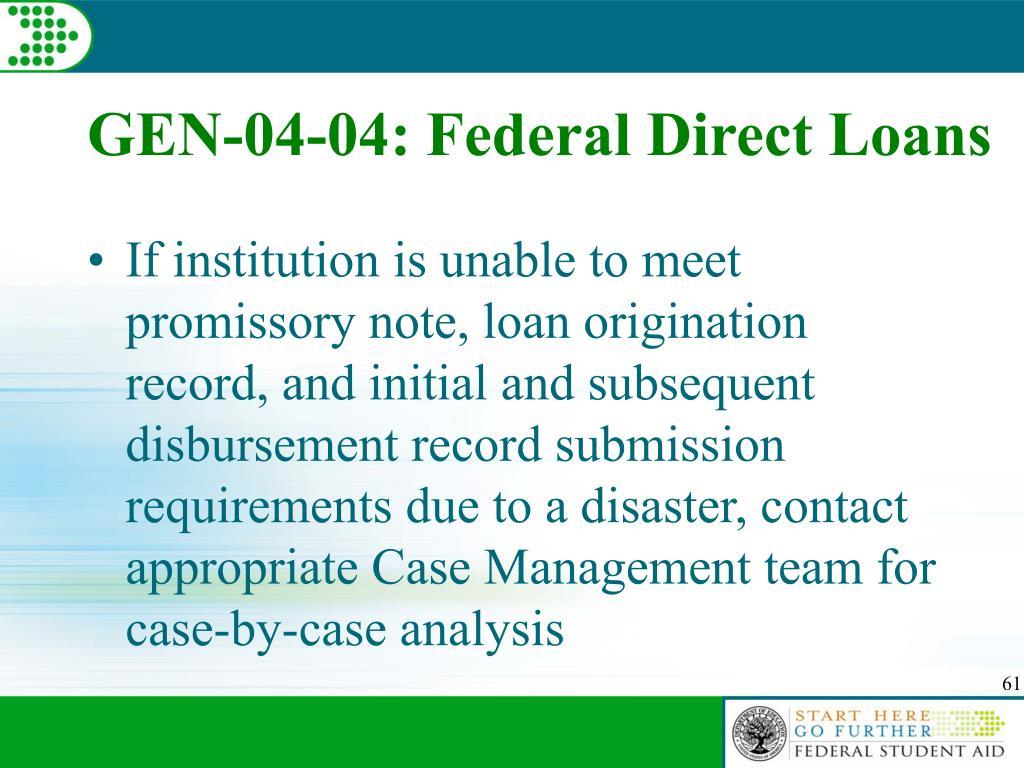 GEN-04-04: Federal Direct Loans