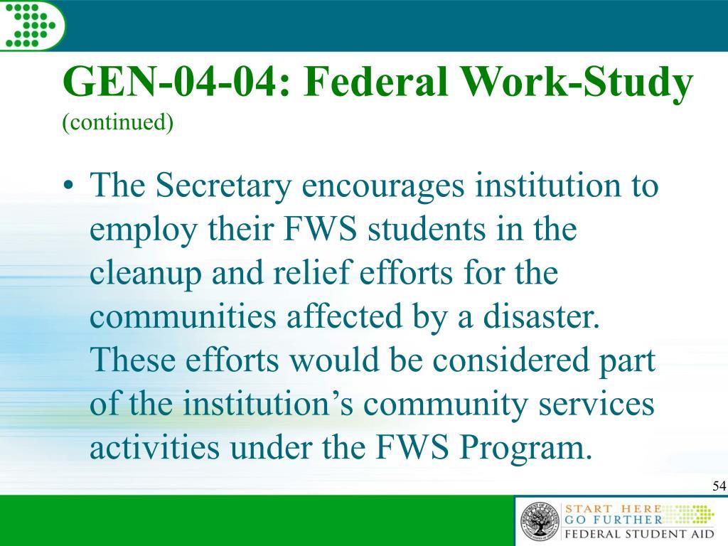 GEN-04-04: Federal Work-Study
