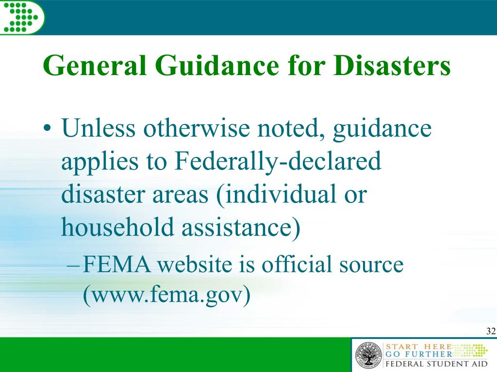 General Guidance for Disasters