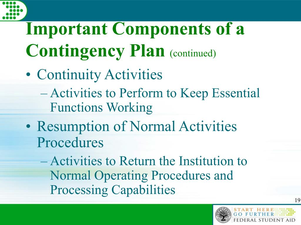 Important Components of a Contingency Plan
