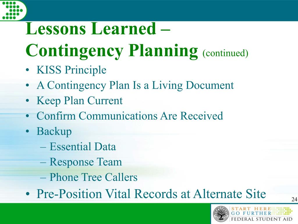 Lessons Learned – Contingency Planning