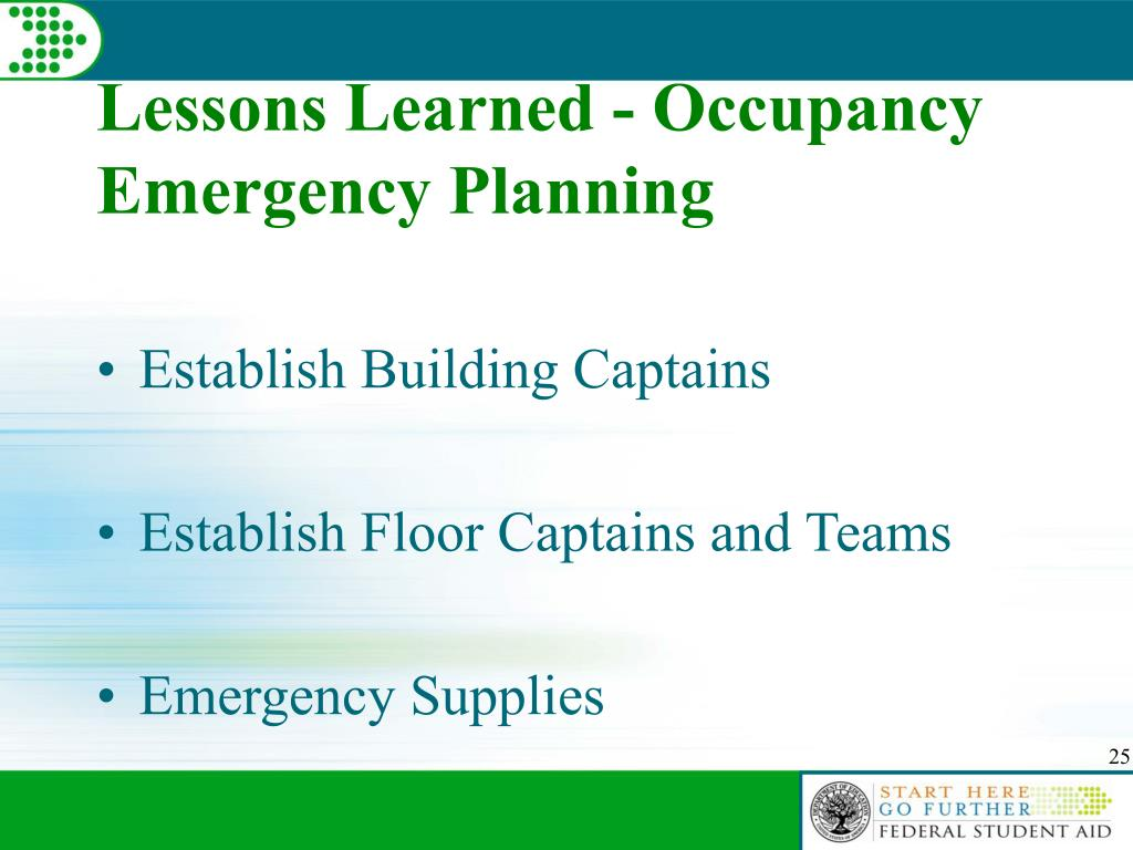 Lessons Learned - Occupancy Emergency Planning