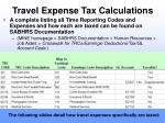 travel expense tax calculations