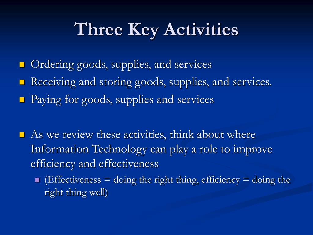 Three Key Activities