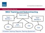 mas teaming and subcontracting