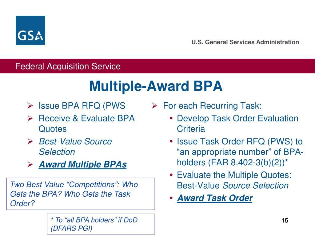 Issue BPA RFQ (PWS