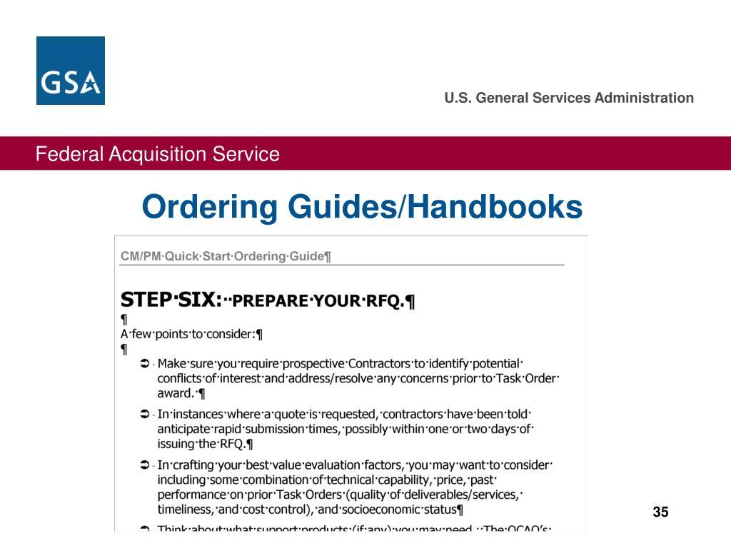 Ordering Guides/Handbooks