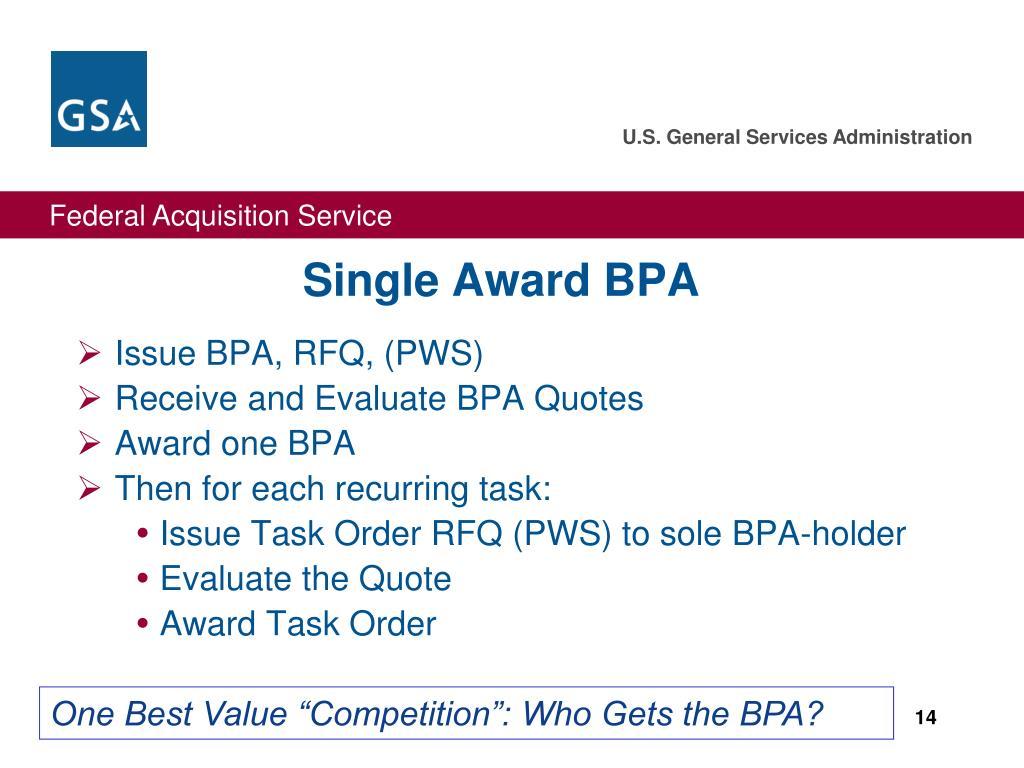 Single Award BPA