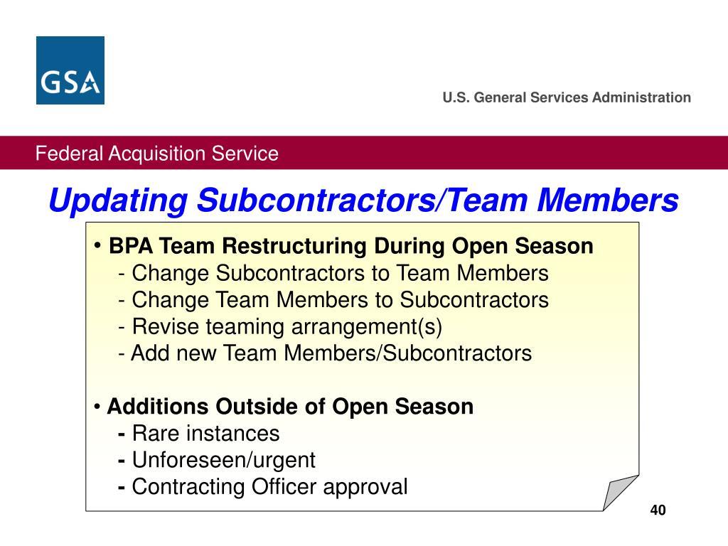 Updating Subcontractors/Team Members
