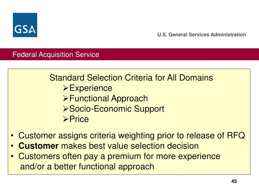Standard Selection Criteria for All Domains