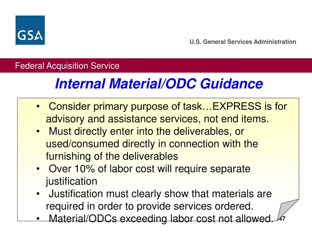 Internal Material/ODC Guidance