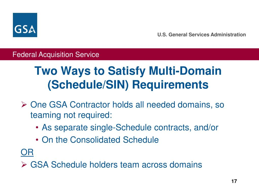 Two Ways to Satisfy Multi-Domain (Schedule/SIN) Requirements
