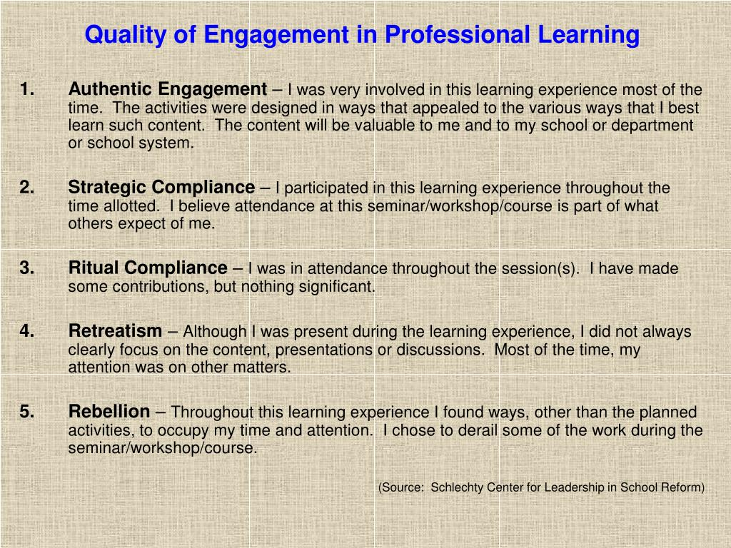 Quality of Engagement in Professional Learning
