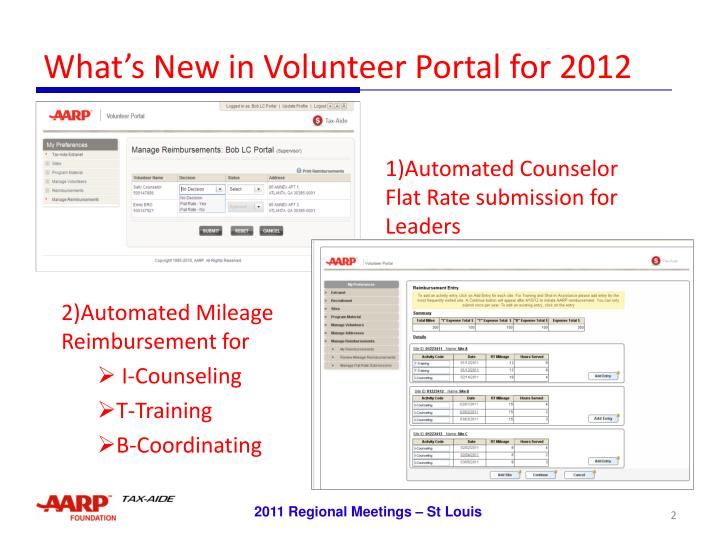 What s new in volunteer portal for 2012 l.jpg