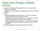 single subject designs multiple baseline