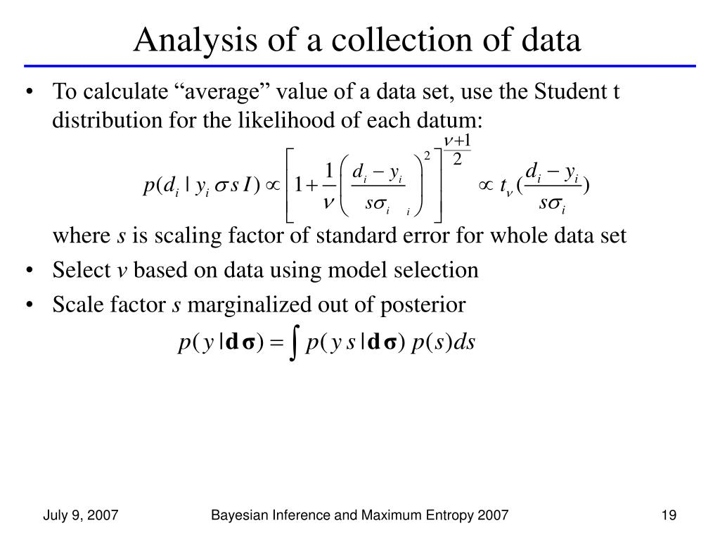 Analysis of a collection of data