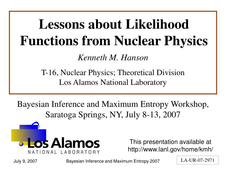 Lessons about likelihood functions from nuclear physics