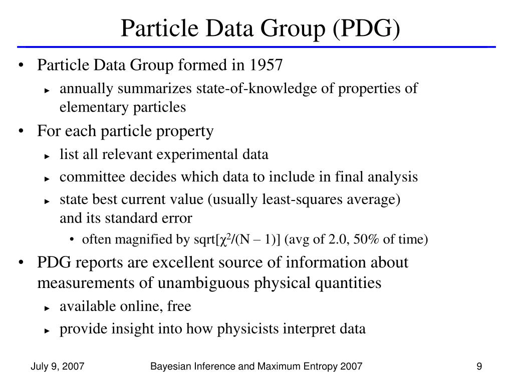 Particle Data Group (PDG)
