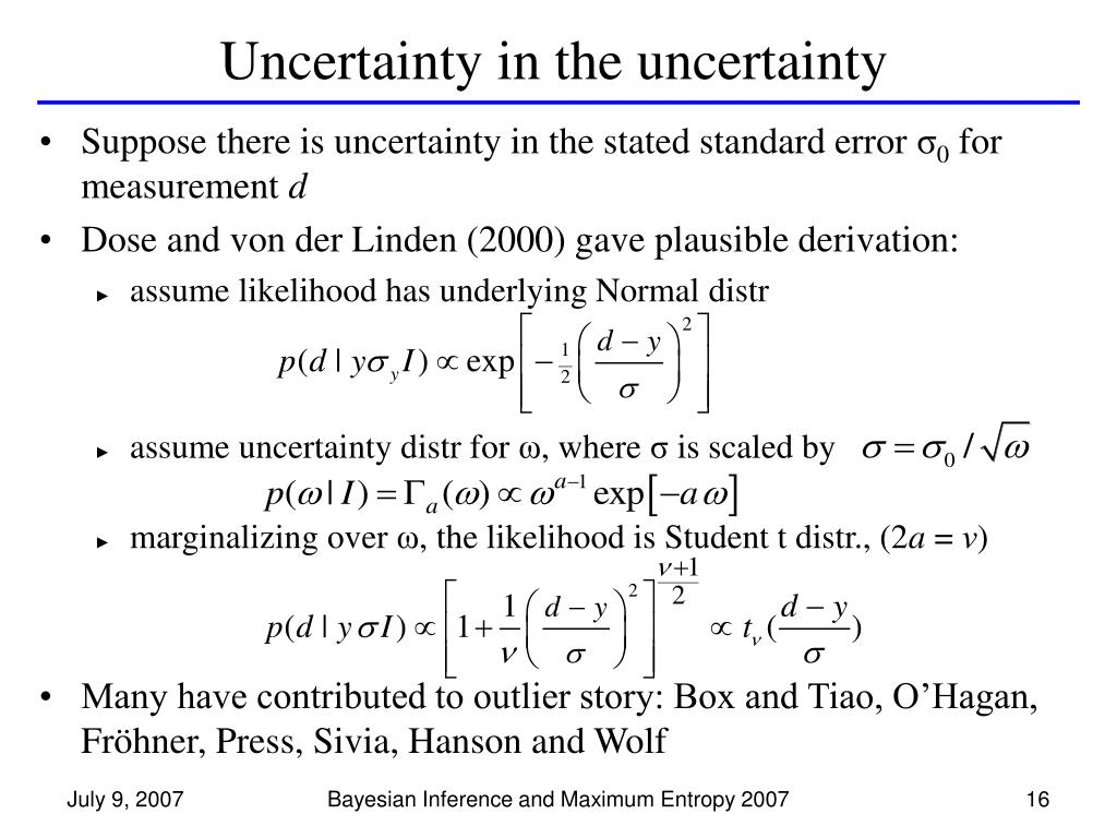 Uncertainty in the uncertainty