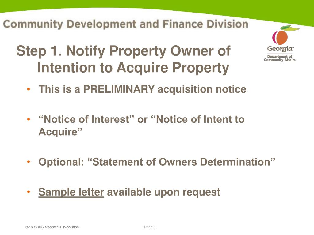 Step 1. Notify Property Owner of
